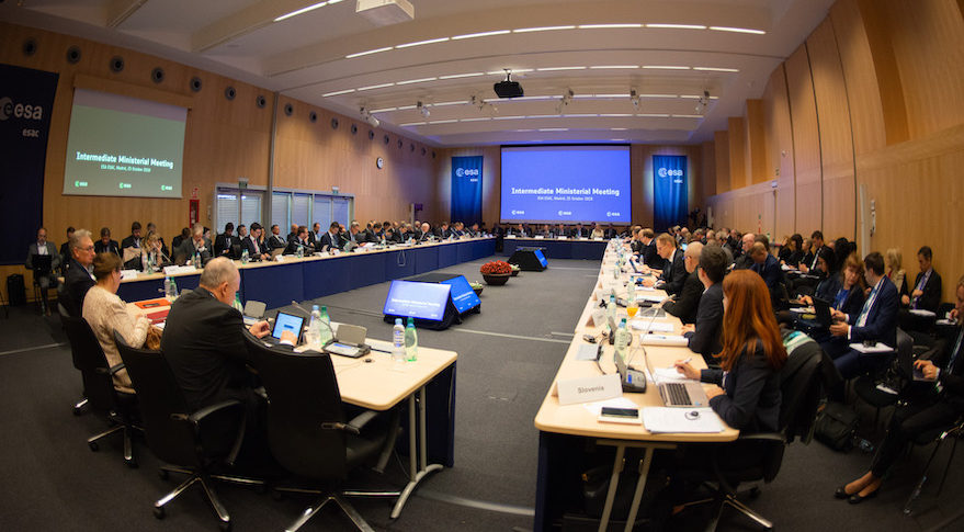 ESA's ministers in charge of space activities convened at an Intermediate Ministerial Meeting at ESA's European Space Astronomy Centre (ESAC) in  Madrid, Spain, Oct. 25.  The Intermediate Ministerial Meeting is a milestone on the road to Space19+, ESA's next Council at ministerial level which will be held in Seville, Spain, in November 2019.  Credit: ESA