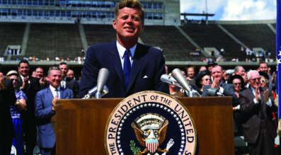 NASA was just four years old when John F. Kennedy delivered his landmark Rice University speech in September 1962 directing the agency to land astronauts on the moon by the end of the decade. Credit: Robert Knudsen via JFK Presidential Library and Museum