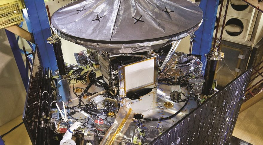 The Juno spacecraft NASA launched to Jupiter in 2011 carried Lockheed Martin's first spaceflown printed spacecraft component, a small titanium waveguide bracket. Credit: Lockheed Martin