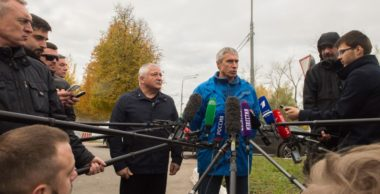 Sergei Krikalev, Roscosmos' director of manned spaceflight, updates reporters in Moscow on the ongoing investigation into the Oct. 11 Soyuz mission abort. Credit: Roscosmos photo
