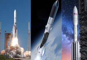 The U.S. Air Force selected ULA, Blue Origin and Northrop Grumman Innovation Systems to receive hundreds of millions of dollars apiece to develop new launch vehicles for launching national security payloads Credit: SpaceNews graphic