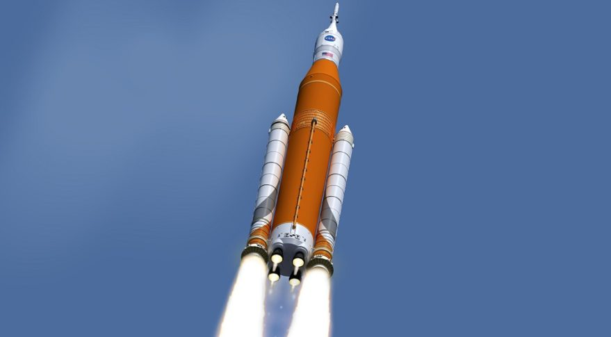 NASA illustration of the Space Launch System heavy-lift rocket. Credit: NASA
