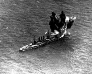 The former German battleship Ostfriesland was sunk July 21, 1921 off the coast of Virginia by bombs dropped by U.S. Army Brig. Gen. Billy Mitchell's airplanes. In 1947, the U.S. Air Force was formally established as a separate branch of the armed forces. Credit: U.S. Air Force via Wikimedia