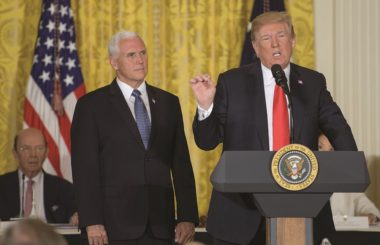 When President Trump announced plans for a Space Force, it triggered a legal debate on the justification for such a force. Credit: NASA/Bill Ingalls