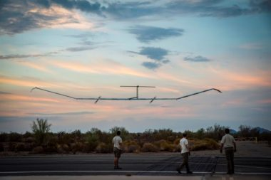 Zephyr S, Airbus' high-altitude pseudo-satellite, departed Arizona on its maiden flight July 11. It flew for nearly 26 days without refueling or landing, surpassing the flight endurance record of 14 days set by Zephyr 7 in 2010. Credit: Airbus