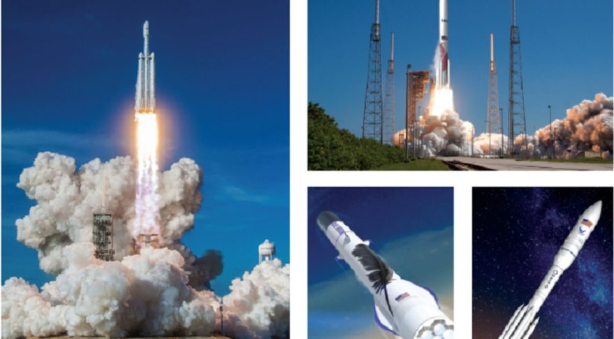 Clockwise from left: SpaceX's Falcon Heavy, ULA's Vulcan Centaur, Northrop Grumman's OmegA and Blue Origin's New Glenn rockets are all in the running to compete for a block of launch contracts the U.S. Air Force intends to divide between two providers during phase 2 of the Launch Service Agreements (LSA) program. Credit: SpaceX / ULA / Northrop Grumman / Blue Origin