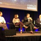 Adam Van Etten, CosmiQ Works technical director, Valvanera Moreno, SES system architecture and innovation manager, Devin Brande, Orbital Insight advance programs director, Gabriel Comi, Raytheon Intelligence, Information and Services' Artificial Intelligence and Autonomy Capability Center chief architect, discuss artificial intelligence and machine learning at Satellite Innovation 2018 in Mountain View, California. Credit: SpaceNews/Debra Werner