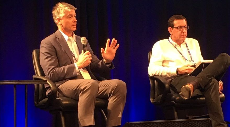 Speaking at Satellite Innovation 2018 in Mountain View, California, Chris Quilty, Quilty Analytics president, and Nick Flitterman, Portland Advisers co-founder and telecommunications head, discussed demand for satellite megaconstellations. Credit: SpaceNews/Debra Werner