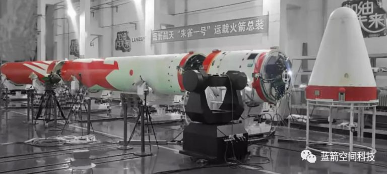 The assembled Zhuque-1 launch vehicle at a facility in Xi'an in August 2018. Credit: Landspace