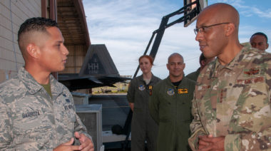 Gen. C.Q. Brown, commander, Pacific Air Forces, speaks with Airman 1st Class Nathan Barboza  at Joint Base Pearl Harbor Hickam, Credit: U.S. Air National Guard