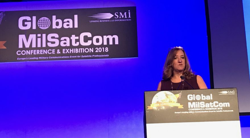 Deanna Ryals, chief partnership officer of the Air Force Space and Missile Systems Center, speaks at the 2018 Global MilSatcom conference. Credit: SpaceNews