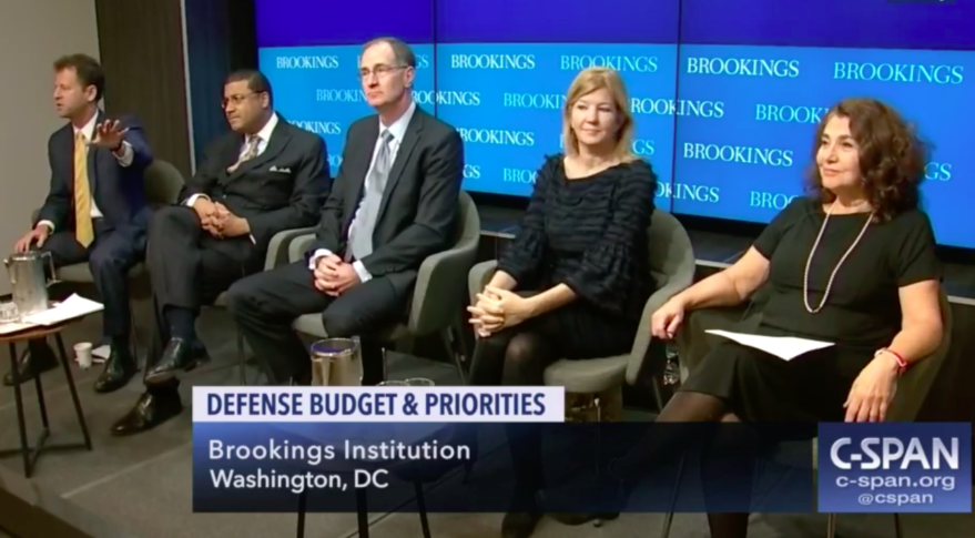 Brookings panel on defense spending priorities. From left to right: Michael O'Hanlon, senior fellow, Brookings Institution; Frank Rose, former assistant secretary of state for arms control; Jim Miller, former undersecretary of defense for policy;  Maya MacGuineas, president of the Committee for a Responsible Federal Budget; Elaine Kamarck, senior fellow at Brookings' governance studies program. Credit: C-SPAN