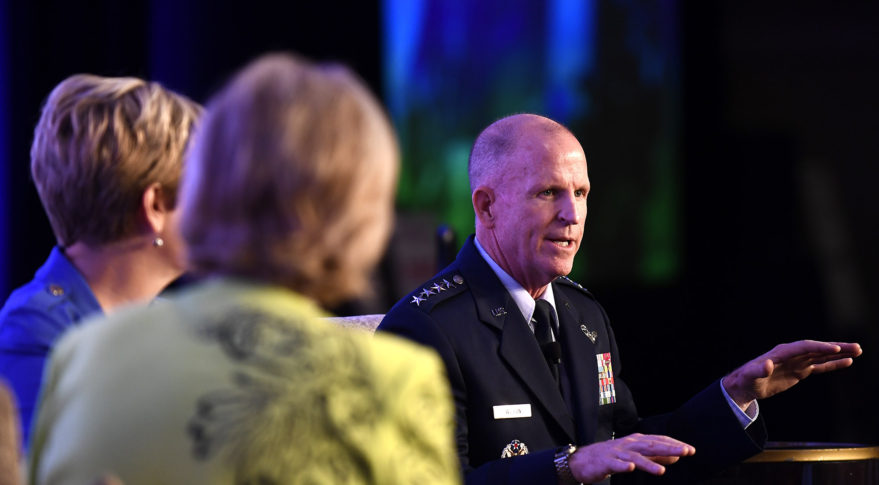 U.S. Air Force Vice Chief of Staff Gen. Stephen W. Wilson speaks during the Military Child Education Coalition National Training Seminar, Washington, D.C., July 24, 2018. The Air Force has continuously placed an emphasis on school age dependent education because of a direct correlation with family resilience/readiness to maintain a willingness of families to continue to support their Airman sponsors wherever they are asked to serve. (U.S. Air Force photo by Staff Sgt. Rusty Frank)