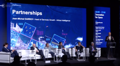 Spire CEO Peter Platzer, second from left, and Planet CEO Will Marshall, third from left, spoke Nov. 12 at  ESA's PhiWeek in Frascati, Italy. Credit: ESA video still
