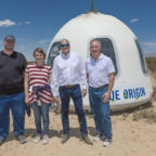 Solstar employees in front of Blue Origin's New Shepard crew capsule on April 29, 2018, are (from left) Charlie Whetsel, senior programmer, Terra Shephard, electrical engineer, Brian Barnett, founder and chief executive, and Mark Matossian, chief operating officer. Credit: Blue Origin