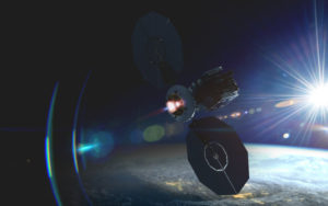 This is an artist's rendering of Fervoride, Momentus' space tug to move spacecraft, including telecommunications satellites and deep space missions, to their desired orbits. Credit: Momentus