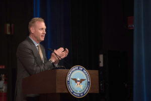 Deputy Secretary of Defense Patrick Shanahan addresses Pentagon employees at an awards ceremony. CREDIT: Defense Department