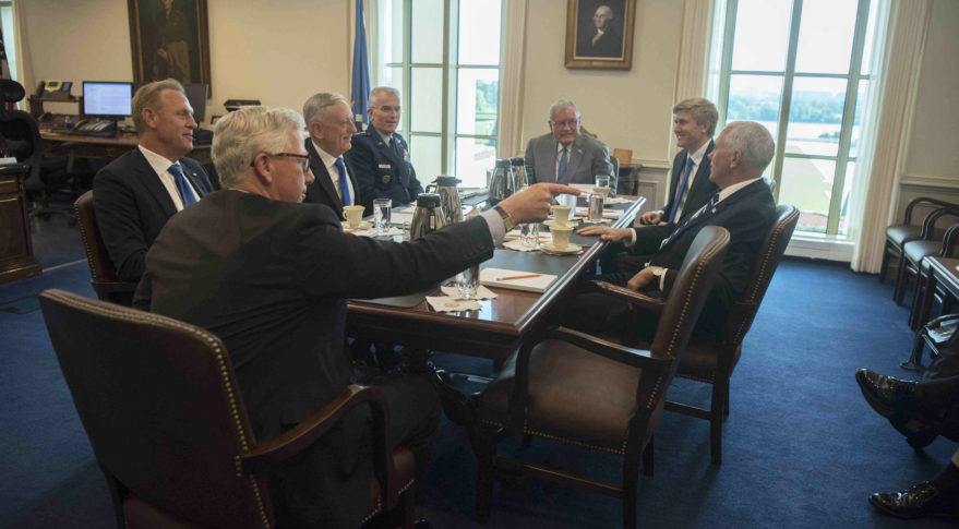 Vice President Mike Pence meets with Pentagon officials Aug. 9, 2018. Credit: DoD