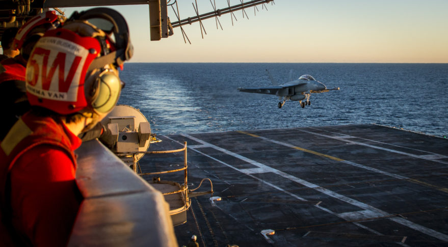 An EA-18G Growler electronic warfare aircraft prepares to make an arrested landing on the flight deck of Nimitz-class aircraft carrier USS Carl Vinson in the Pacific. Credit: U.S. Navy