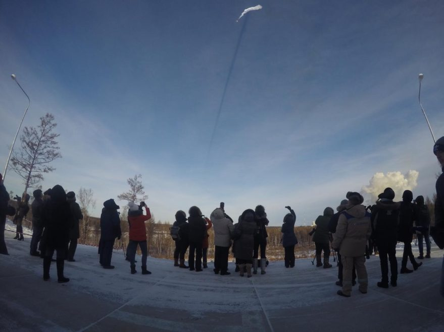 Observers braved frigid temperatures in Russia's far east to witness the Dec. 27 launch.