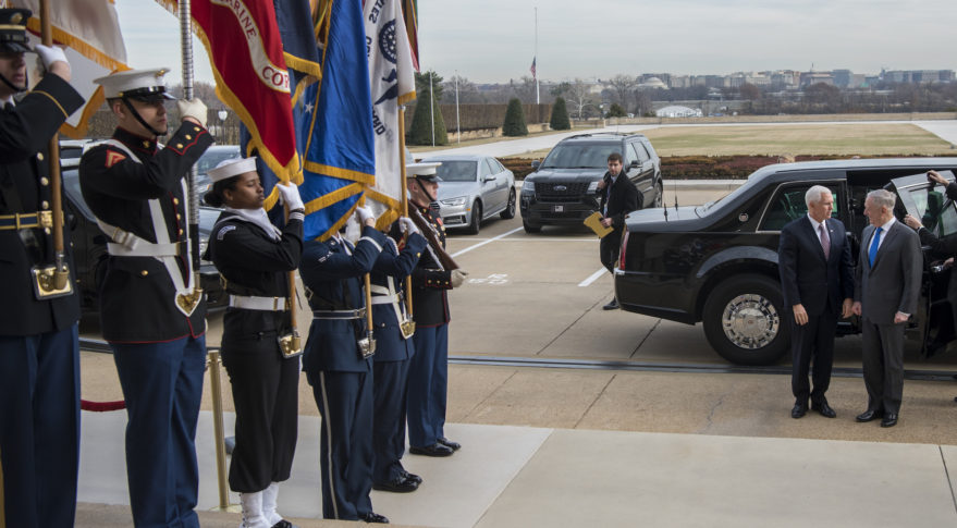 Vice President Mike Pence is greeted by Secretary of Defense James Mattis as he arrives at the Pentagon, Dec. 19, 2018. Credit: DoD