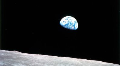 The famous 'Earthrise' photo from Apollo 8, the first manned mission to the moon. The crew entered lunar orbit on Christmas Eve, Dec. 24, 1968. That evening, the astronauts held a live broadcast, showing pictures of the Earth and moon as seen from their spacecraft. (Credit: NASA)