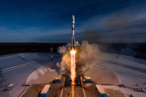 A Soyuz 2.1A rocket lifts off Dec. 27 from Vostochny Cosmodrome carrying a pair Kanopus-V 5 remote sensing satellites and a secondary payload of 26 smallsats arranged by GK Launch Services. Credit: GK Launch Services