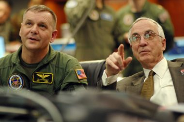 On Feb. 20, 2008, then-U.S. Vice Chairman of the Joint Chiefs of Staff Gen. James E. Cartwright (left) and then-Deputy Defense Secretary Gordon England follow the progress of a Standard Missile-3 as it races toward US-193, a decaying spy satellite the U.S. military shot down some 13 months after the Chinese military shot down one of its own defunct satellites. The U.S. said Operation Burnt Frost was undertaken to mitigate the risk of US-193's uncontrolled reentry, not as a tit-for-tat response to China's shoot down of Fengyun-1C. Both events created significant international tension.
