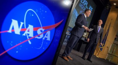 NASA Administrator Jim Bridenstine, left, and NASA Associate Administrator for the Science Mission Directorate, Thomas Zurbuchen, answer questions during an event where nine U.S. companies where named as eligible to bid on NASA delivery services to the lunar surface through Commercial Lunar Payload Services (CLPS) contracts, Thursday, Nov. 29, 2018. Credit: NASA