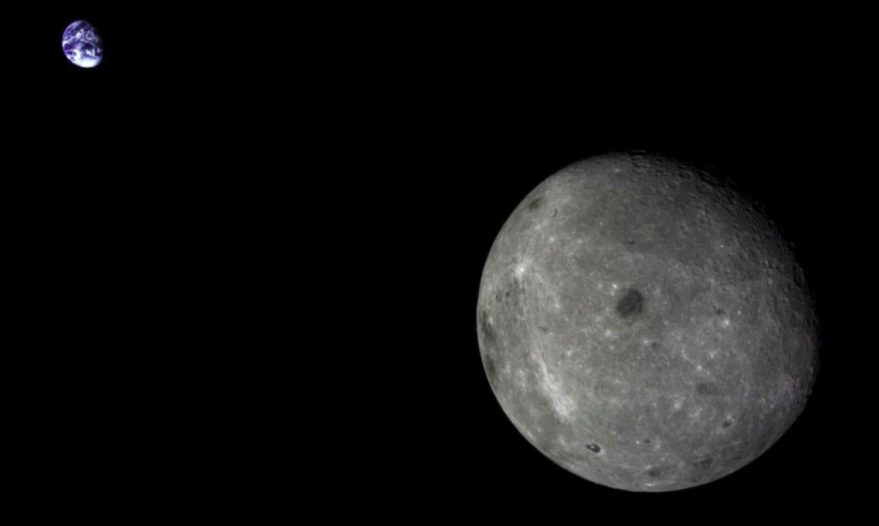 The far side of the moon and distant Earth imaged by the Chang'e-5 T1 mission service module in 2014. Credit: Chinese Academy of Sciences