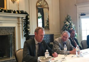 Deputy Defense Secretary Patrick Shanahan (left) and Undersecretary of Defense for Research and Engineering Mike Griffin meet with reporters Dec. 13, 2018 at a National Defense Industrial Association event in Arlington, Va. Credit: SpaceNews