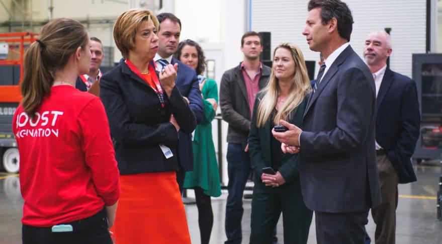 Undersecretary of Defense for Acquisition and Technology Ellen Lord visits launch startup Virgin Orbit in Long Beach, Calif. Credit: Virgin Orbit