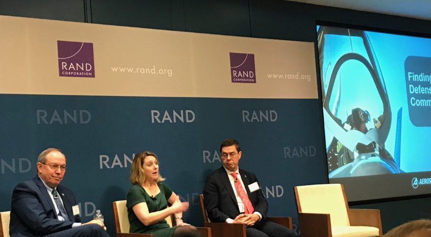 From left to right: David Deptula, dean of the Mitchell Institute; Kathleen Hicks, senior vice president of CSIS; Thomas Mahnken, president of CSBA speak at the West Coast Aerospace Forum at the RAND Corp. in Santa Monica. Credit: SpaceNews