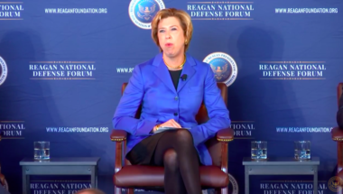 Ellen Lord, undersecretary of defense for acquisition and sustainment, speaks at the 2018 Reagan National Defense Forum. Credit: RNDF