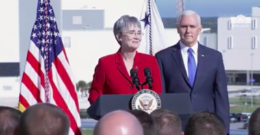 Air Force Secretary Heather Wilson and Vice President Mike Pence speak at Kennedy Space Center, Fla. on Dec. 18. Credit: YouTube