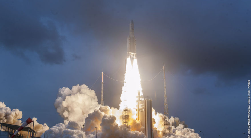 Arianespace's VA246 Ariane 5 mission lifts off from the Guiana Space Centre in South America Dec. 4, 2018. Credit: Arianespace