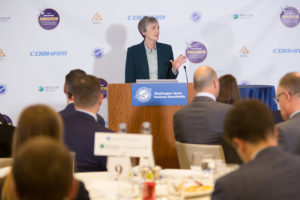 U.S. Air Force Secretary Heather Wilson speaking Dec. 3 at the SpaceNews Awards for Excellence & Innovation at Hogan Lovells in Washington. Credit: Lisa Nipp for SpaceNews.
