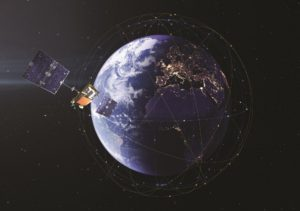 Iridium Communications completed deployment of its Iridium Next constellation with the Jan. 11 launch of the final 10 satellites in the system. The constellation consists of 66 operational satellites and nine on-orbit spares. Credit: Thales Alenia Space Artist's Concept