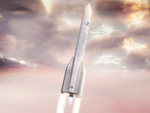Artist's rendition of the  Ariane 62, version (two side-boosters) that is optimized for institutional missions. Credit: Arianespace.