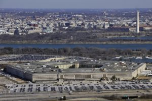 The Pentagon with the Washington Monument and National Mall in the background. Credit: Air Force Senior Airman Perry Aston