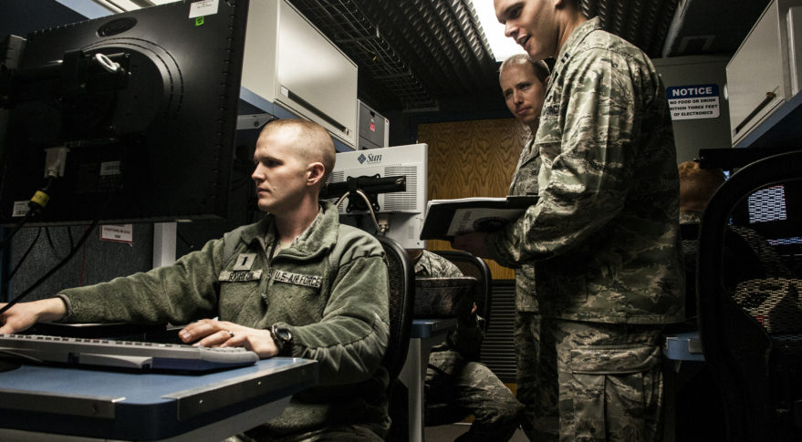 Airmen at Schriever Air Force Base, Colo. are responsible for command and control of the Advanced Extremely High Frequency satellite constellation. Credit: Air Force