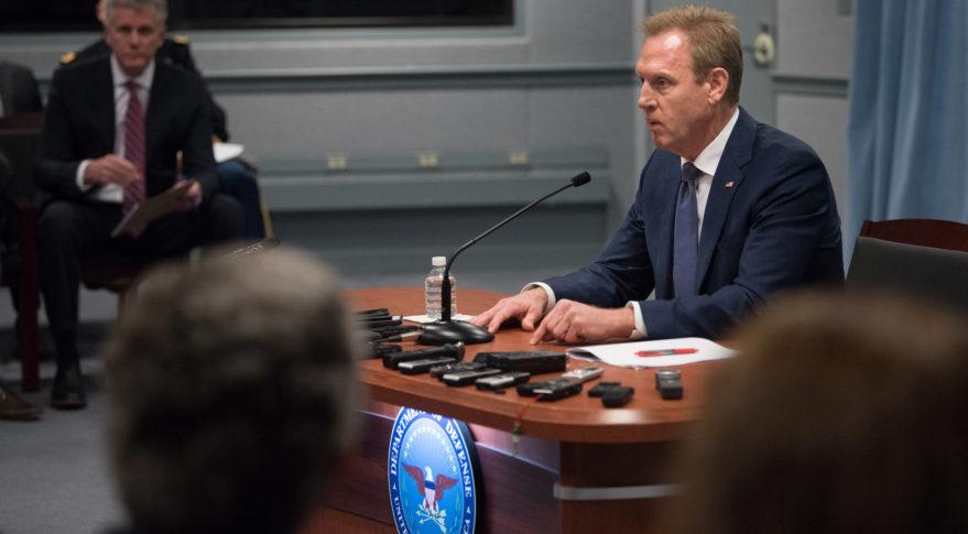 Acting Defense Secretary Patrick Shanahan speaks to reporters at the Pentagon Jan. 29, 2019. Credit: DoD