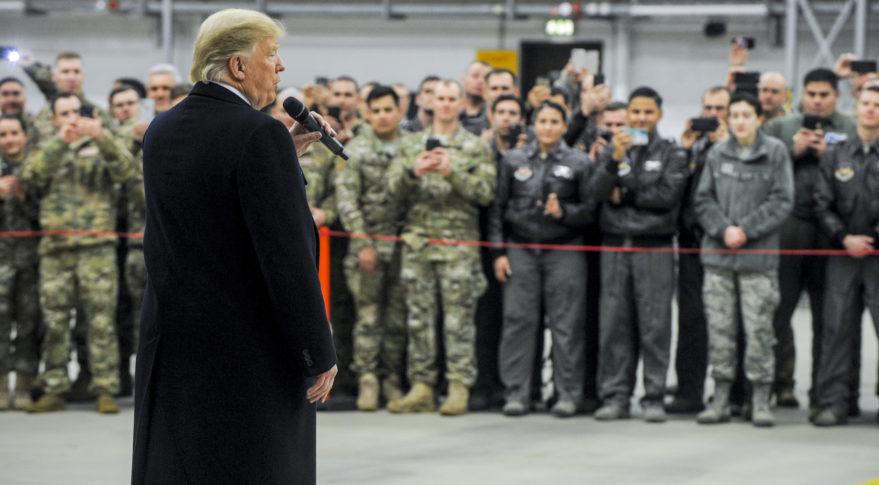 President Trump speaks to U.S. airmen at Ramstein Air Base, Germany. Credit: U.S. Air Force