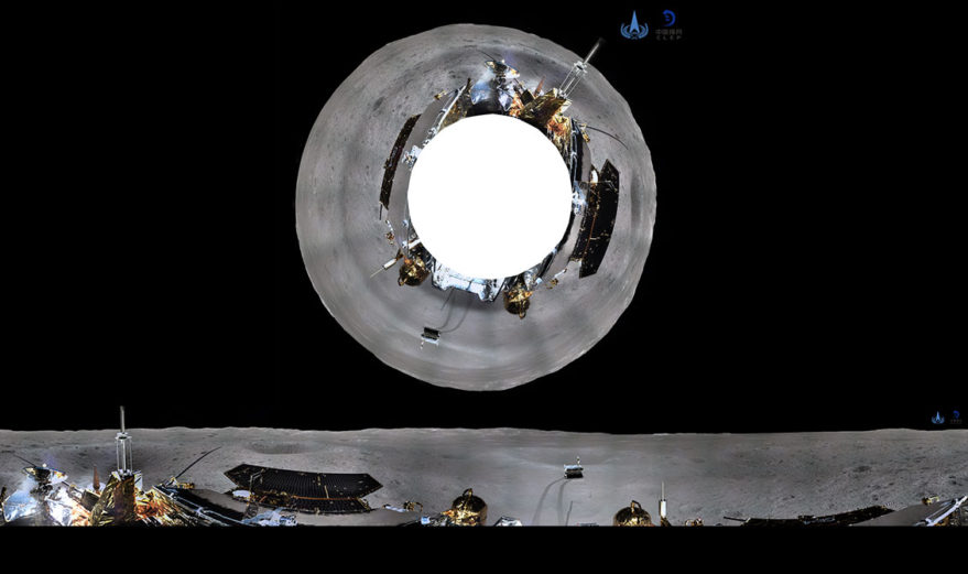 Azimuth and cylindrical projection panoramas taken by Chang'e-4 lander. Credit: CLEP/CNSA