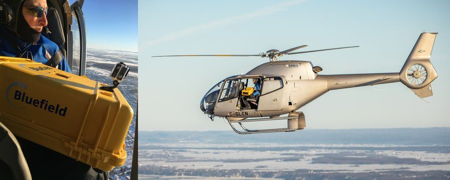 Bluefield Technologies tested its methane-detecting sensor aboard a helicopter in December 2018. Credit: Bluefield Technologies