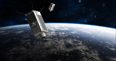 An artist's rendering of two GHGSats in low Earth orbit. Credit: GHGSat