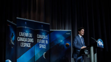 Canadian Prime Minister Justin Trudeau announced Canada's participation in the NASA-led lunar Gateway program Feb. 28 during a speech at Canadian Space Agency headquarters in Quebec. Credit: Adam Scotti, Prime Minister's Office.