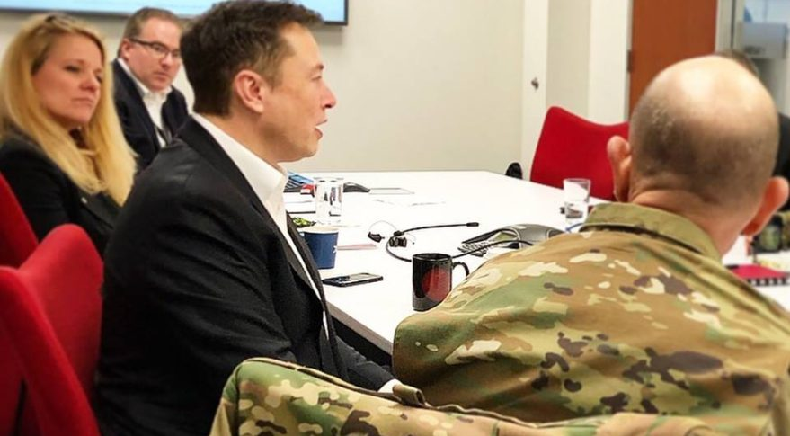 U.S. Air Force officials met in February with SpaceX founder Elon Musk and President Gwynne Shotwell at the company's headquarters. Among the topics discussed was future Air Force use of SpaceX's Starlink broadband services. Credit: Air Force Air Combat Command