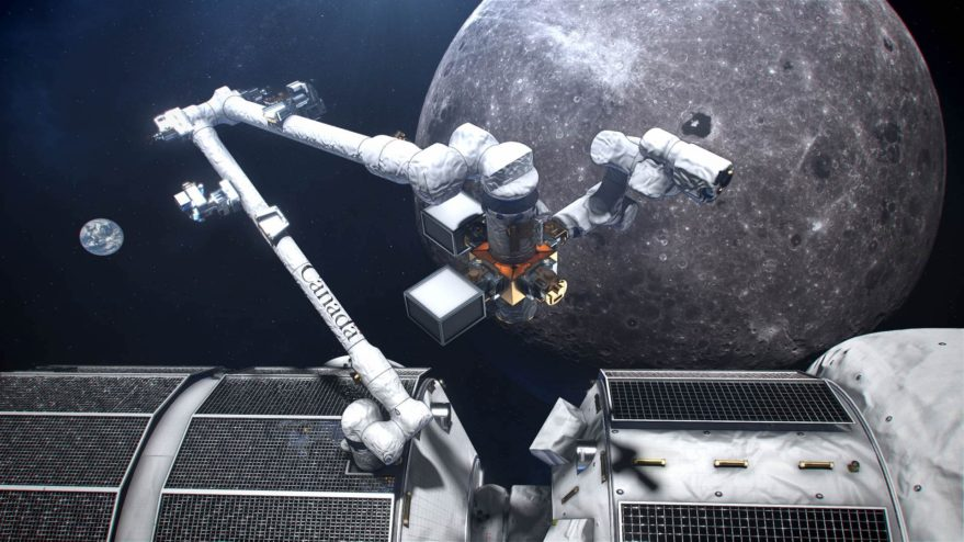 An artist's concept of Canada's smart robotic system located on the exterior of the Gateway, a small space station in orbit around the moon. (Credits: Canadian Space Agency, NASA)