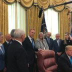 At an Oval Office ceremony Feb. 19, 2019, President Trump signs Space Policy Directive 4 to establish a Space Force. Credit: SpaceNews